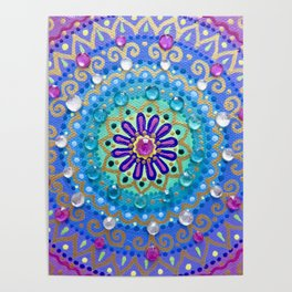 Pretty Glittery Jewelled Mandala Poster