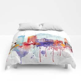 Colorful Honolulu skyline design, Hawaii cityscape Comforters
