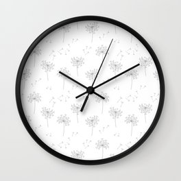 Dandelions in Grey Wall Clock