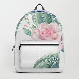 Cactus Rose Succulent Watercolor by Nature Magick Backpack
