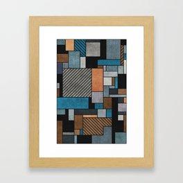 Random Concrete Pattern - Blue, Grey, Brown Framed Art Print