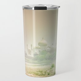 Colors of Dreamy Taj Mahal in the Morning Mist Behind the Yamuna River Travel Mug