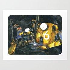 Moonbot #6: Yellow Art Print