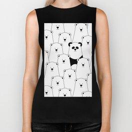 Polar bear and panda cartoon Biker Tank