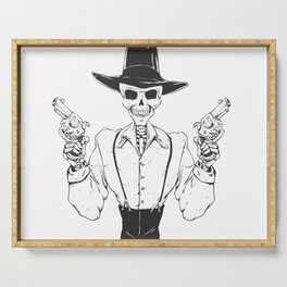 Gangster skull - grim  reaper cartoon - black and white Serving Tray