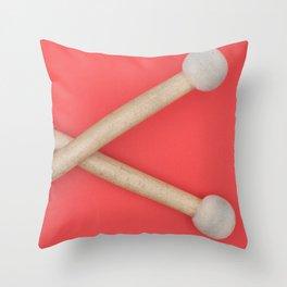 drum sticks red background Throw Pillow