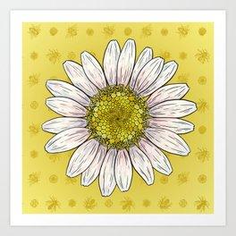 Shasta Daisy Bee Print Art Print
