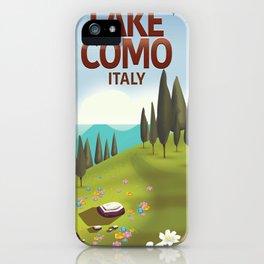 Lake Como Italy travel poster iPhone Case