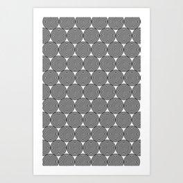 Hypnotic Black and White Circle Pattern - Digital Illustration - Graphic Design Art Print