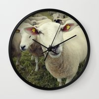 sheep Wall Clocks featuring Sheep by Falko Follert Art-FF77