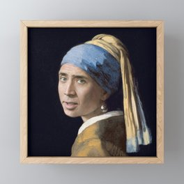 The Nic With the Pearl Earring (Nicholas Cage Face Swap) Framed Mini Art Print