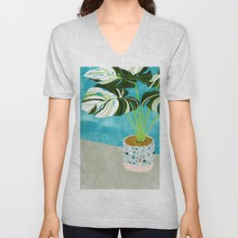 Variegated Monstera #tropical #painting #nature Unisex V-Neck