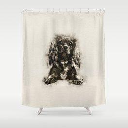 Cavalier King Charles Spaniel Puppy Sketch Shower Curtain