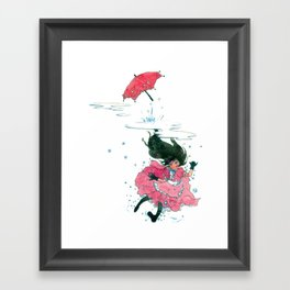 Playing in Puddles Framed Art Print