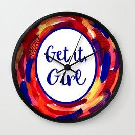 Feminist Art: Get it, Girl, Abstract, Girl Power, Feminism Wall Clock