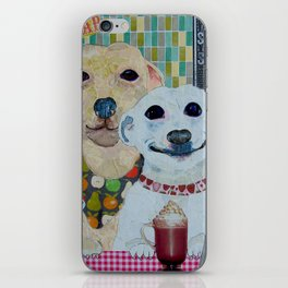 What a pear! Two dogs with fancy coffee. iPhone Skin
