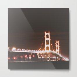 Mackinac Bridge At Night Metal Print