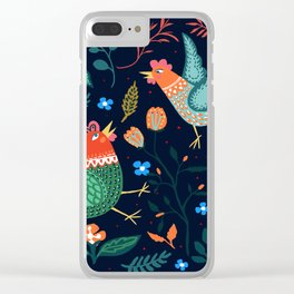 Green rosters flower fighting Clear iPhone Case