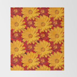 A Medley of Red and Yellow Marigolds Throw Blanket