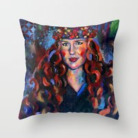 kate bishop Throw Pillows featuring Kate by Juliette Caron