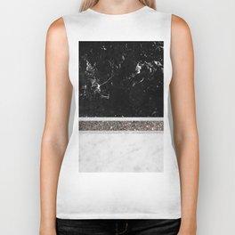 Black and White Marble Silver Glitter Stripe Glam #1 #minimal #decor #art #society6 Biker Tank