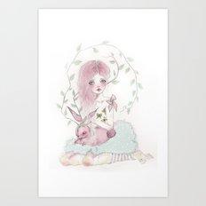 Dreamy Jackalope  Art Print