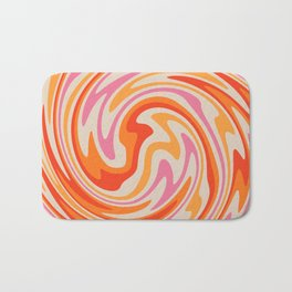 70s Retro Swirl Color Abstract Bath Mat