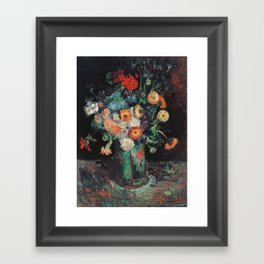Vincent Van Gogh - Vase with Zinnias and Geraniums, 1886 Framed Art Print