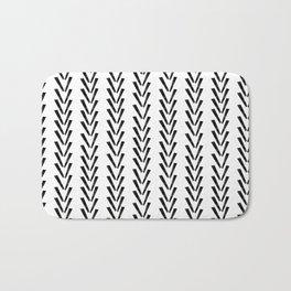 Linocut abstract minimal chevron pattern basic black and white decor Bath Mat