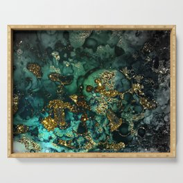 Gold Indigo Malachite Marble Serving Tray
