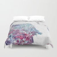 san francisco map Duvet Covers featuring San Francisco map by MapMapMaps.Watercolors