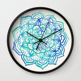Watercolor Medallion in Ocean Colors Wall Clock
