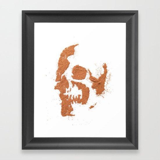 149. Cocoa Stencil Skull Framed Art Print