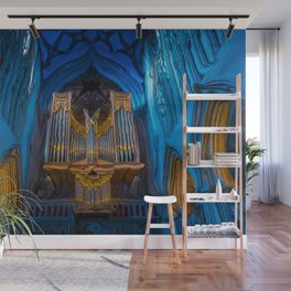 Blue Cathedral Gold Pipe Organ Wall Mural