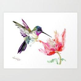 Little Hummingbird and Pink Flower, Bird art, minimalist bird painting, soft pink olive green design Art Print