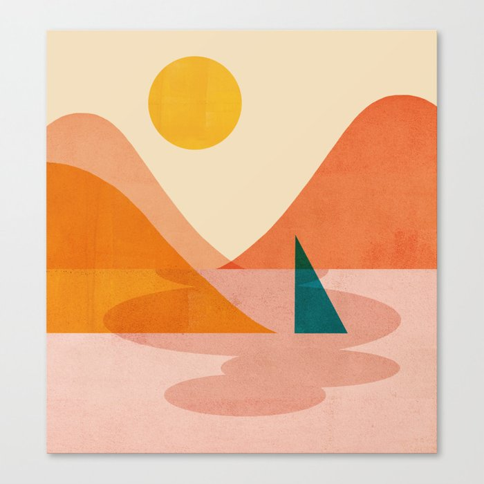 Abstraction_Lake_Sunset Canvas Print