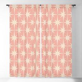 Atomic Age 1950s Retro Starburst Pattern in Cream and Blush Pink  Blackout Curtain