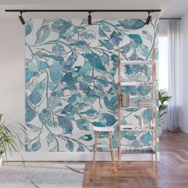 Blue leaves3 by Gosia&Helena Wall Mural