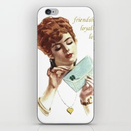 Beautiful Young Woman Holding Love Letter Vintage Vector iPhone Skin