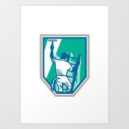 Window Cleaner Worker Shield Retro Art Print