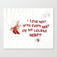 cocaine Canvas Prints featuring COCAINE LOVE by Beauty Killer Art