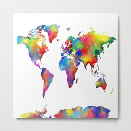 world map colorful 2 Metal Print