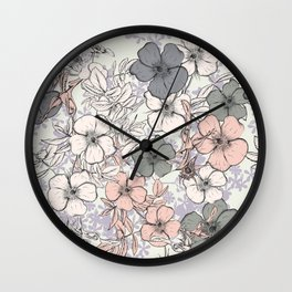 Flower vintage design with wild roses in english style Wall Clock