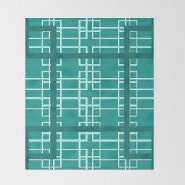 Midcentury Modern Geometric Turquoise Throw Blanket