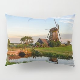 Windmill in a countryside landscape in Holland at sunset Pillow Sham