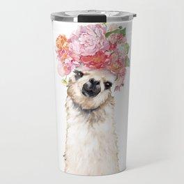 Llama with Beautiful Flowers Crown Travel Mug