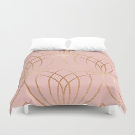 Rose gold millennial pink blooms Duvet Cover