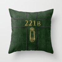 221b Throw Pillows featuring 221B Door by Kristina Moy