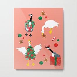 Christmas Goose Festive Holiday Pattern Metal Print