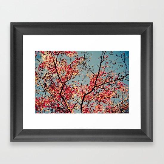 Autumn Branch & Leaves Framed Art Print
